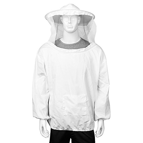 Flexzion Beekeeping Jacket - Premium Beekeeper Pull Over Suit Coat Outfit with Protective Veil Smock Hood for Beginner & Commercial Bee Keepers, XXL White -
