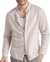 BYLUNTA Men's Cotton & Linen Long Sleeve Collarless Shirt (US XL(Asian-3XL), Sky Blue)