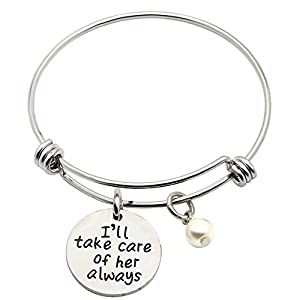 Inspirational Bangle I'll Take Care Of Her Always Pearl Pendant Women Jewelry For Mother in Law Smooth