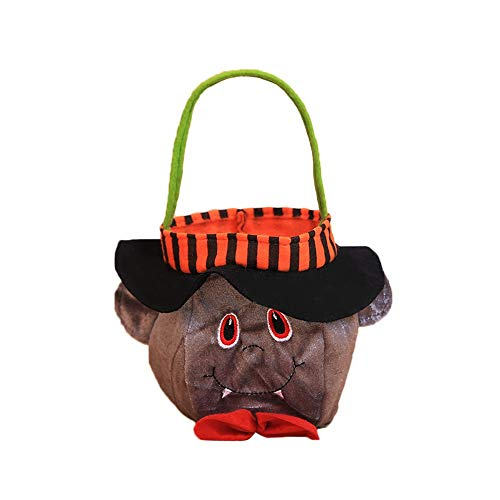 FILOL Halloween Kids Doll Trick or Treat Bags Pumpkin, Black Cat, and Witches Candy Bags with Handles for Halloween Party Favors (A)