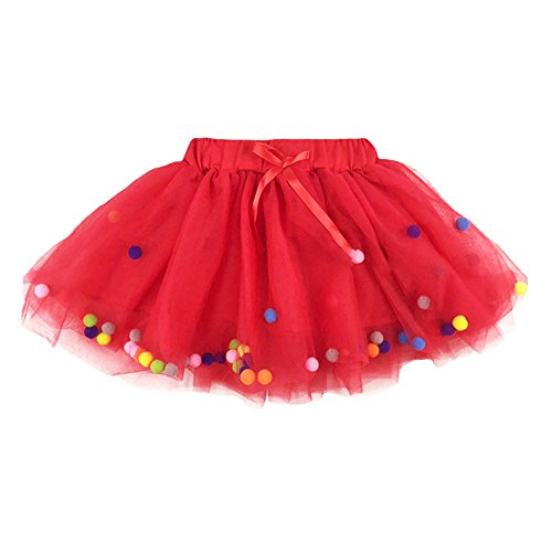 YOHA Baby Girls Tutu Dress Pom Pom Balls Soft Tulle Tutu Dress for Toddler Girls(Red,80) -