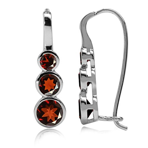 (2.06ct. 3-Stone Natural Garnet White Gold Plated 925 Sterling Silver Hook Earrings)