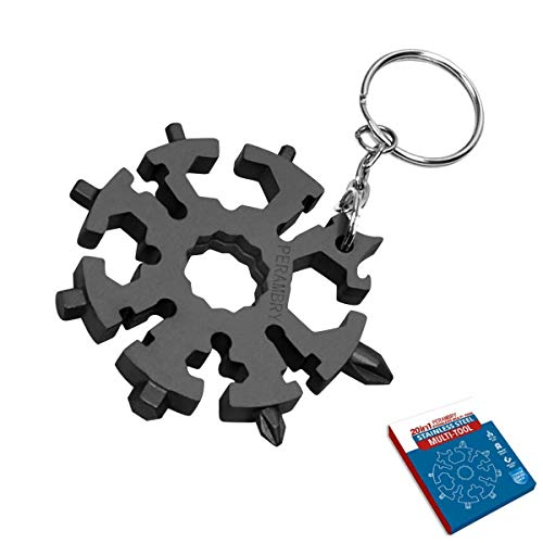 20 in 1 stainless steel Snowflake multi-function tool portable multi-function tool screwdriver/wrench/corkscrew/key ring, suitable for outdoor travel and camping (black)