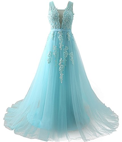 Women's Stunning Gala Evening Dress Turquoise Graduation Prom Gowns Light Blue,US2 ()