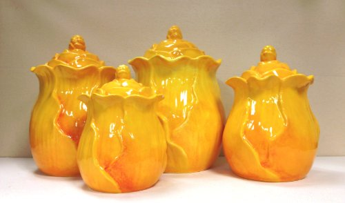 e Orange/Yellow Flower Collection Hand Painted 4-Piece Canister Set 10