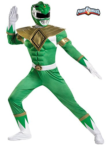 Green Ranger Classic Muscle Costume - XX-Large - Chest Size 50-52 (Power Rangers Helmet)