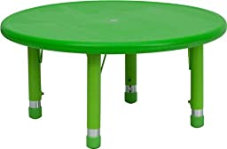 Flash Furniture YU-YCX-007-2-ROUND-TBL-GREEN-GG 33-Inch Round Height Adjustable Green Plastic Activity Table