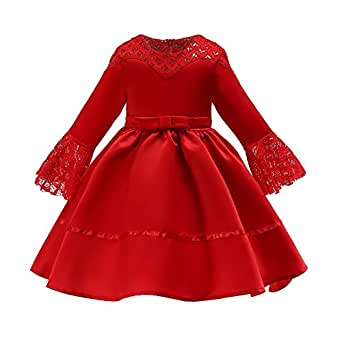 Xifamniy Infant Girls Half Sleeve Skirt Solid Color Lace Design Lacing Waist Tutu Dress Red