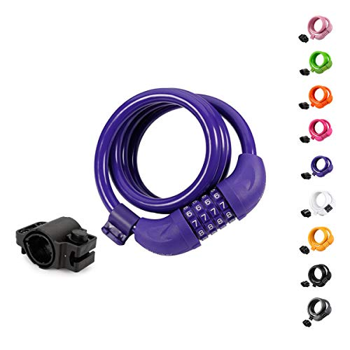 Titanker Bike Lock, 4ft Security Resettable Combination Coiling Bike Cable Locks with Mounting Bracket, 1/2 Inch Diameter (Purple)