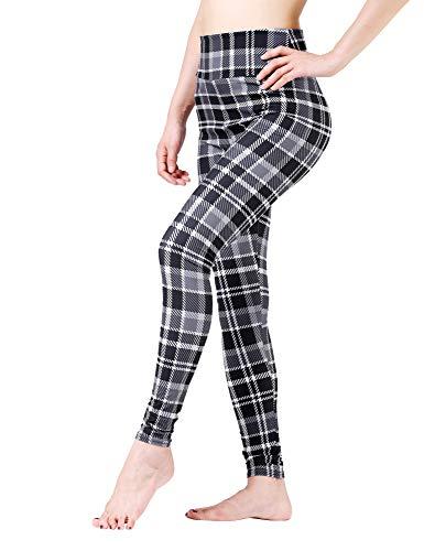 Maxi Plaid Checkered Printed Pattern High Waist Ultra Soft Plus Size Yoga Workout Running Leggings ()