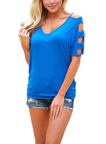 Sidefeel Shoulder Sleeve Blouse T shirt