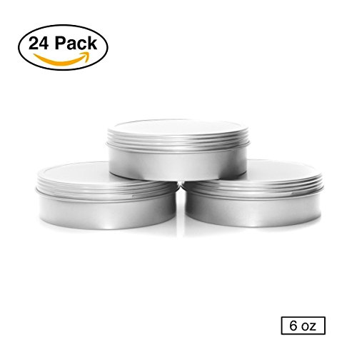 Tin Lid (Mimi Pack 6 oz Shallow Screw Top Lid Tin Can Containers For Salves, Favors, Spices, Balms, Gifts Tin Containers 24 Pack (Silver))