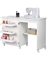 NSdirect Sewing Table, Folding Sewing Craft Cart&Sewing Cabinet Miscellaneous Sewing Kit Art Desk with Storage Shelves and Lockable Casters,