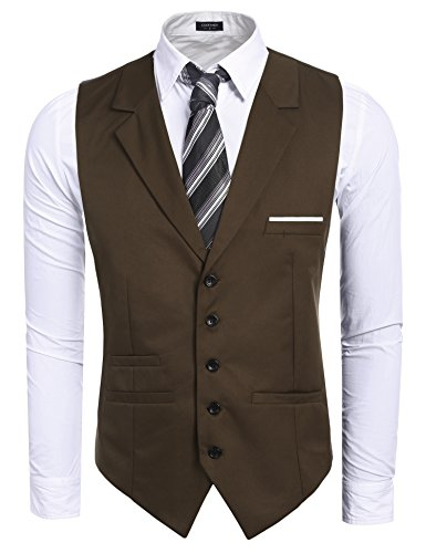 Coofandy Men's Fashion V-neck Sleeveless Button Down Business Suit Vest Waistcoat