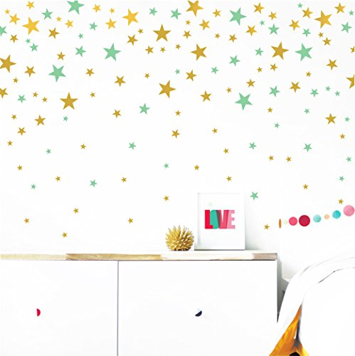 The Boho Design Stars Wall Vinyl Decal Decor Nursery. Adhesive Star Stickers for Kids. Baby Nordic Stars Bedroom Decoration. (Gold and Mint)