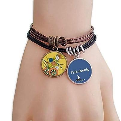 ProDIY Autumn Japanese Culture Flower Friendship Bracelet Leather Rope Wristband Couple Set Estimated Price -