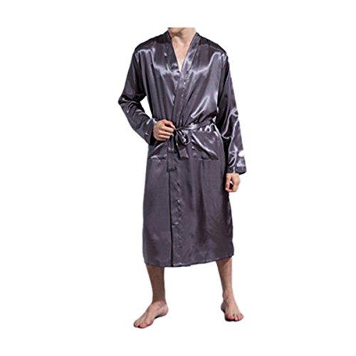 Ciel Infini Men's Satin Robe Classic Shawl Lightweight Solid Kimono with Pockets,Grey,(US M) (Dressing Gown Men)