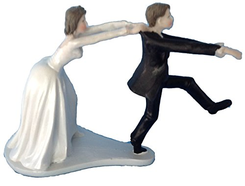 Bride and Groom Cake Top Funny Couple Runaway Groom by Party Favors (Groom Cake Top)