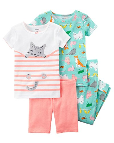 Carter's Toddler Girls' 4-Piece Snug Fit Cotton PJS (5T, Orange/Kitty) ()