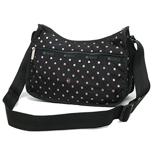 LeSportsac Rose Speckle Dot Classic Hobo Crossbody Bag + Cosmetic Bag, Style 7520/Color D955 (Metallic Rose Gold -