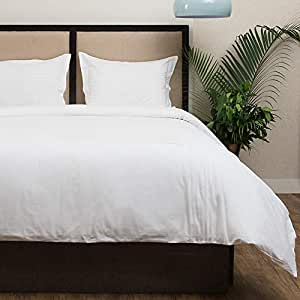 Hotel Collection Chester Percale Duvet Cover Set Of 3 ,King Size, Off-White By Cambay Linens