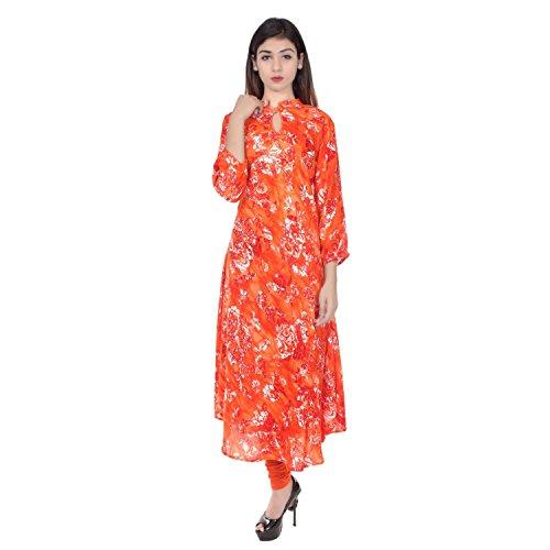 Chichi Indian Women Kurta Kurti 3/4 Sleeve X-Large Size Floral Print Round Anarkali Orange-White Top by CHI