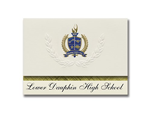 Signature Announcements Lower Dauphin High School (Hummelstown, PA) Graduation Announcements, Presidential style, Elite package of 25 with Gold & Blue Metallic Foil seal ()