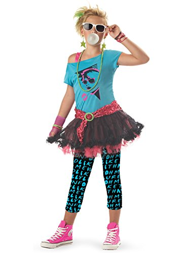 80's Valley Girl Child Costume, Blue, Medium (8-10)