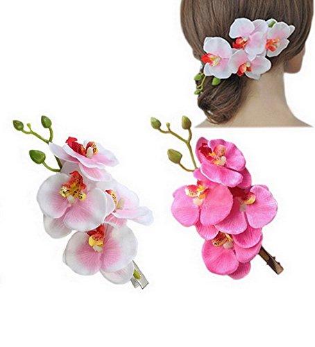 DreamLily Hawaiian Orchid Flower Hair Clips for Wedding Hair Brooch Hawaii Beach Wearing (2PCs)