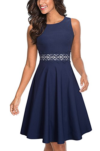 HOMEYEE Women's Sleeveless Cocktail A-Line Embroidery Party Summer Dress A079 (4, Dark Blue) (Dress Plain Homecoming)