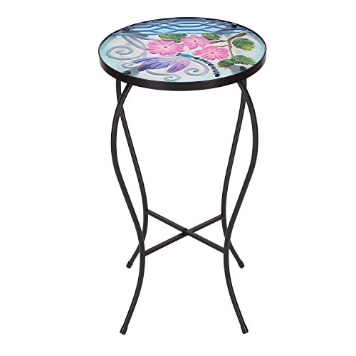 Dragonfly Bench - Joveco Hand Painted Multicolor Artscape Accent Glass Top Round Side Table Plant Stand (Dragonfly II)