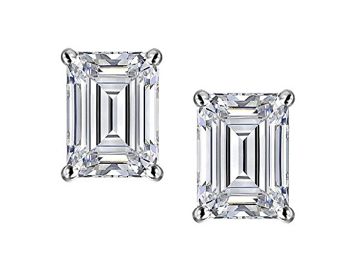 - Star K Emerald Cut 7x5mm Genuine White Topaz Earrings Studs 14 kt White Gold