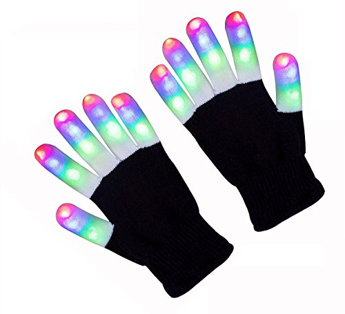 FOCUSAIRY LED Gloves, 3 Colors 6 Modes, Party Light Show Dancing Gloves, Colorful Flashing Finger Lighting Gloves for Clubbing, Rave, Birthday, Disco, Party, Concert, Valentine Gift