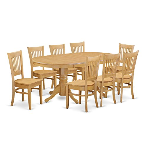 East West Furniture VANC9-OAK-W 9-Piece Dining Room Table...