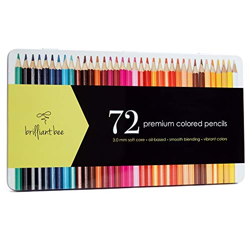 Brilliant Bee - 72 Premium Colored Pencils for Adults - Soft Core, Oil Based, Smooth Blending, Bold Colors - Bulk Professional Set in Metal Case