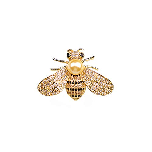 SummerTNG Women Fashionable and Refined Out Brooches, Little Bee Diamond Gold Freshwater Pearl Brooch Bumblebee pin -