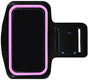 Galaxy S6 Running & Exercise Armband with Key Holder & Reflective Band   Also Fits S7, S5 Series (Pink)