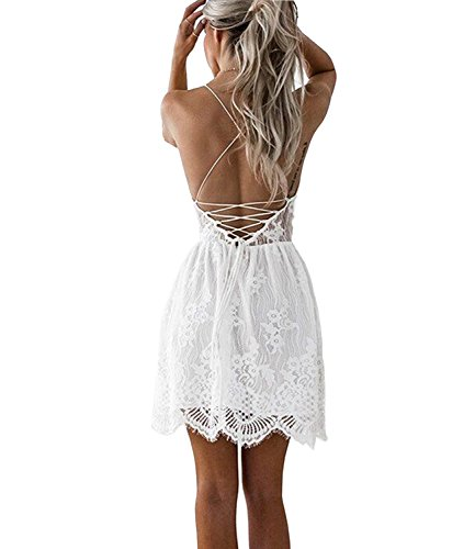 Mansy Women's Summer Backless Skater Lace Dress Spaghetti Strap Short Beach Vacation Dresses