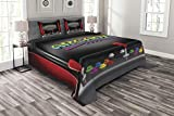 Ambesonne Video Games Bedspread Set Queen Size, Arcade Machine Retro Gaming Fun Joystick Buttons Vintage 80's 90's Electronic, 3 Piece Decorative Quilted Coverlet with 2 Pillow Shams, Charcoal Red