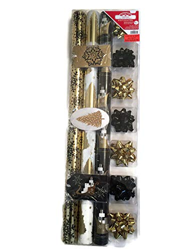 Gold Metallic 2.5' Bow - Christmas Premium Holiday Christmas Gift Wrapping Paper Set - 90 sq ft - Bows & Tags (Gold & Black)