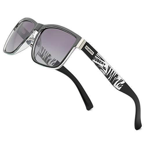 (DUBERY Vintage Polarized Sunglasses for Women&Men 100% UV Protection Fashion Square Sunglasses (gray))