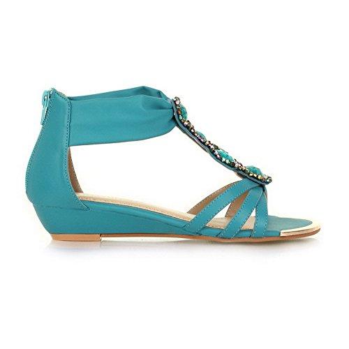 AgooLar Mujeres con Diamante de Imitación Cremallera Puntera Abierta Mini Tacón Sólido Sandalia Azul