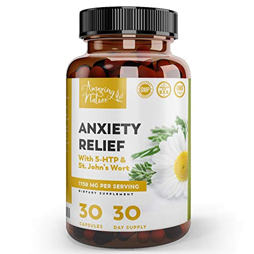 Anxiety Supplements and Mood Boost with Ashwagandha – Stress and Anxiety Relief for Depression, Social Anxiety, Sleep Aid with Calming Effect – 60 St. John's Wort, 5HTP, GABA and Ashwagandha Capsules
