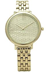 Silver Tone Pave Mother of Pearl Roman Numeral Slim Band and Case Glossy Women Link Watch