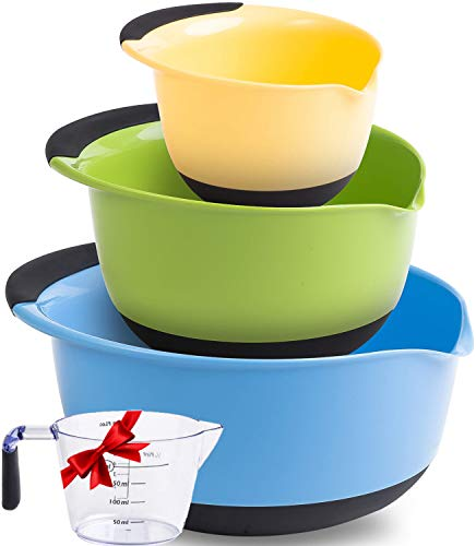Premium Plastic Mixing Bowls (Set of 3) With Non Slip Bottom & Pouring Spout. For Healthy Cooking & Baking, Nesting and Stackable Free Bonus - measuring cup
