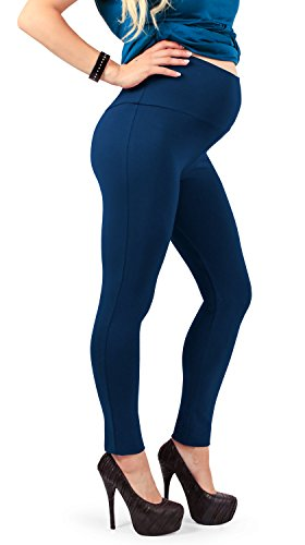 Maternity Leggings, Soft Cotton Belly Band, for All Pregnant Woman - Made in Italy (S, Blue)