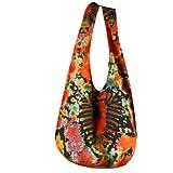 BTP! Tie Dye Sling Crossbody Shoulder Bag Purse Hippie Hobo Cotton Bohemian Colorful Firework (Red Heart VZ9)
