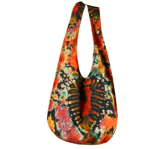 BTP! Tie Dye Sling Crossbody Shoulder Bag Purse Hippie Hobo Cotton Bohemian Colorful Firework (Red Heart (Heart Hobo)