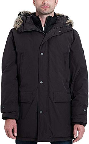 Michael Kors Men's Heavyweight Hooded Snorkel Parka Coat with Bib- Eggplant- S (Michael Michael Kors Mens Hooded Bib Snorkel Coat)