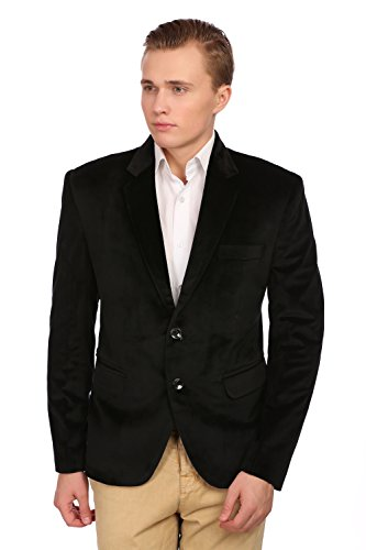 - WINTAGE Men's Velvet Two Buttoned Notch Lapel Party Black Coat Blazer